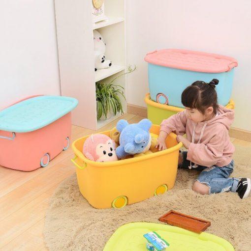 Thùng nhựa đựng đồ chơi có bánh xe tiện dụng cho bé